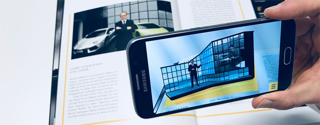 Augmented Reality und Mixed Reality für Print, hier Lamborghini Magazin